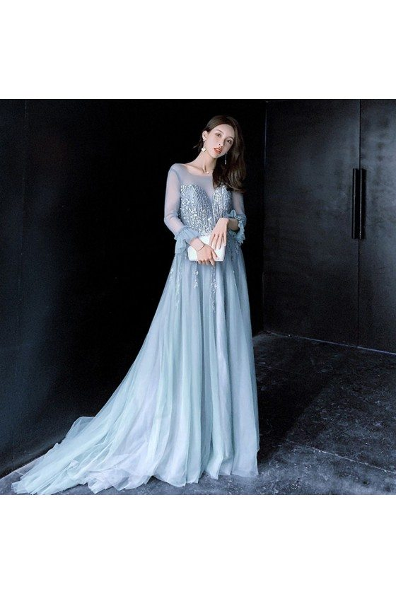 Beautiful Long Train Blue Prom Dress Lace With Illusion Long Sleeves