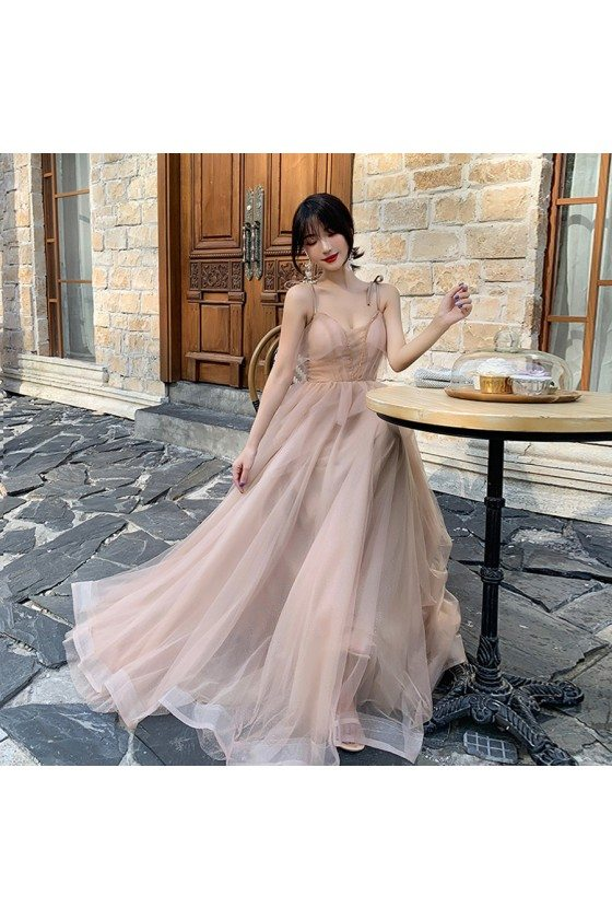 Nude Pink Pretty Long Tulle Prom Dress With Spaghetti Straps