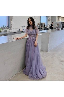 Purple Tulle Lace High Neck...