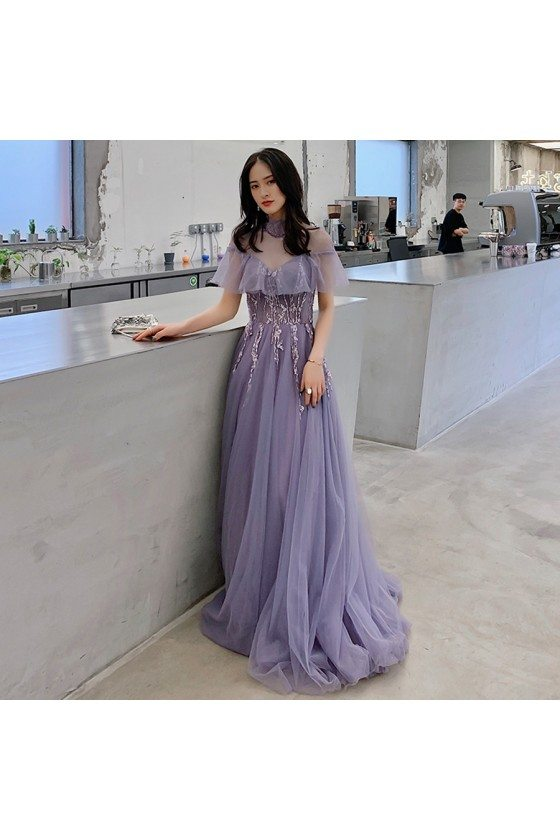 Purple Tulle Lace High Neck Long Prom Dress With Illusion Neckline
