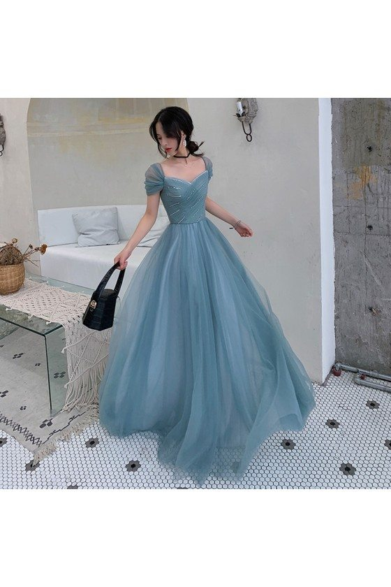 Dusty Blue Tulle Pleated Simple Prom Dress With Cap Sleeves