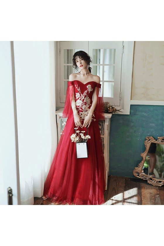 Burgundy Red Off Shoulder Aline Long Prom Dress With Embroidery