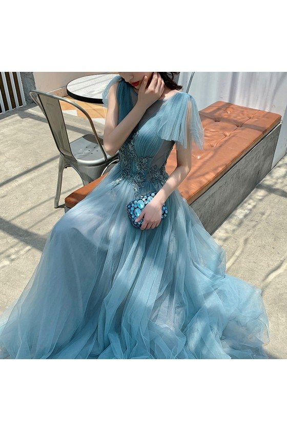 Sea Blue Beaded Long Tulle Prom Dress With Train