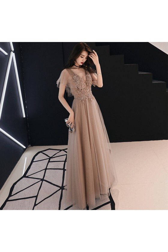 Beautiful Beaded Lace Brown Pageant Prom Dress Vneck With Tulle Sleeves