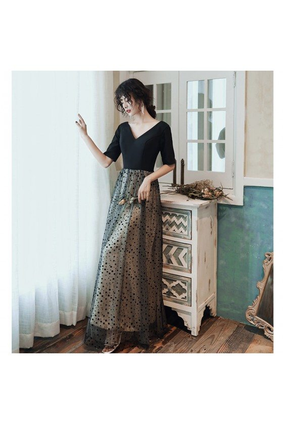 Modest Black Tulle Polka Dot Party Dress With Short Sleeves