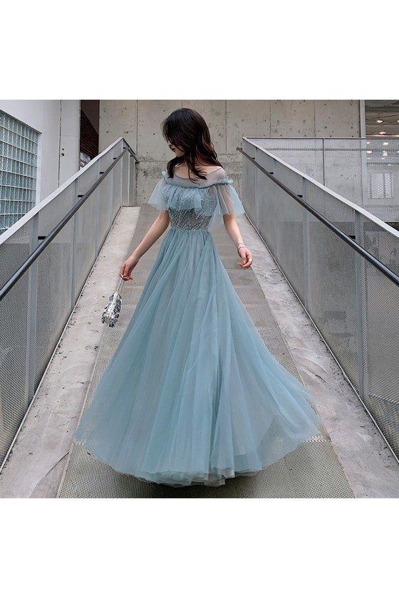 Elegant Dusty Blue Tulle Aline Long Party Prom Dress With Illusion Neckline