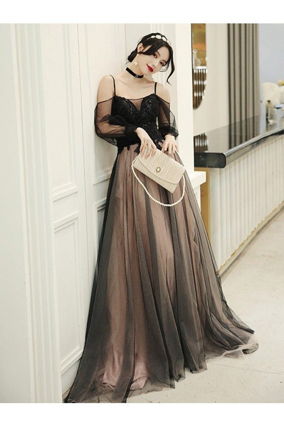 Pretty Long Black Tulle Aline Prom Dress With Straps Train