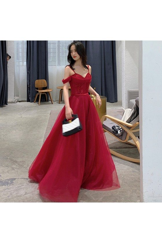 Pretty Long Red Burgundy Aline Prom Dress With Spaghetti Straps