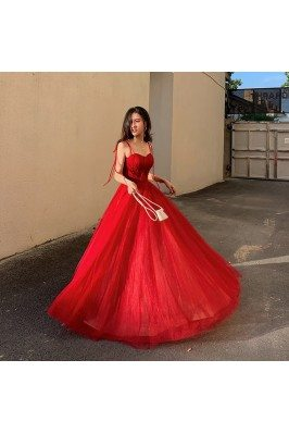 Flowy Long Tulle Red Formal...