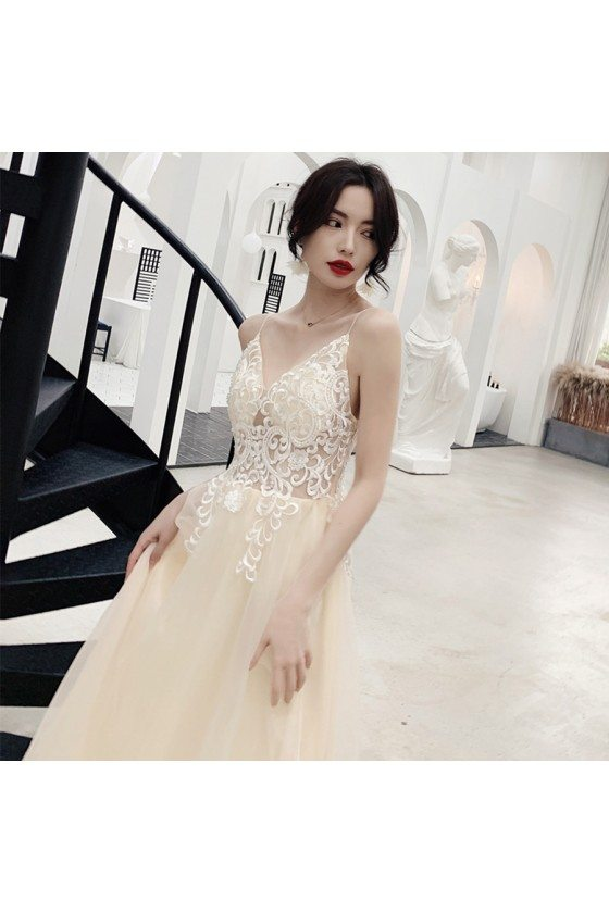 Chic Champagne Tulle With White Lace Boho Prom Dress With Straps