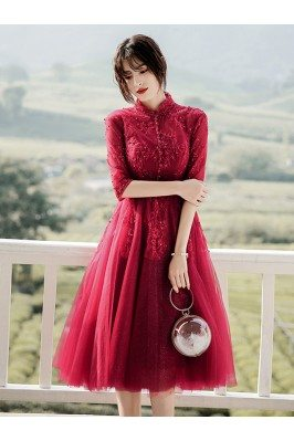 Burgundy Knee Length Tulle...