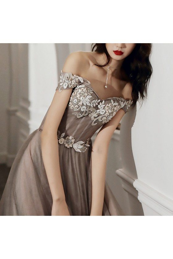 Grey Off Shoulder Lace Gorgeous Tulle Prom Dress For Less
