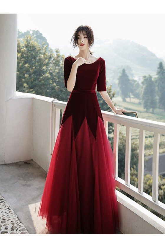 Velvet With Long Tulle Modest Party Dress With Half Sleeves