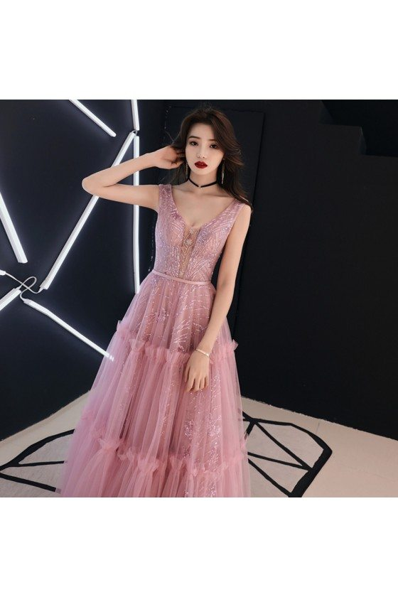 Sparkly Sequins Pink Tulle Vneck Prom Dress Sleeveless