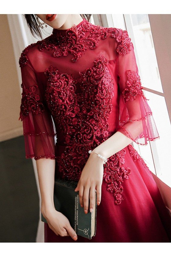 Long Beaded Lace High Neck Prom Dress Burgundy With Sleeves