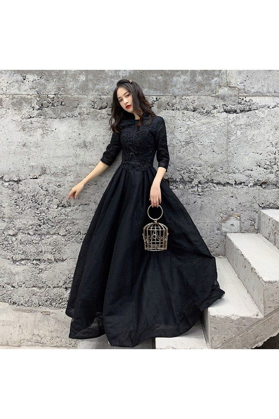 Formal Beaded Lace Black Cheap Prom Dress With Half Sleeves