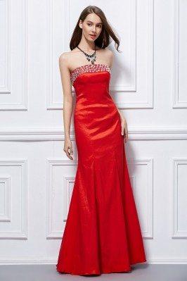 Beaded Strapless Taffeta Corset Back Prom Dress