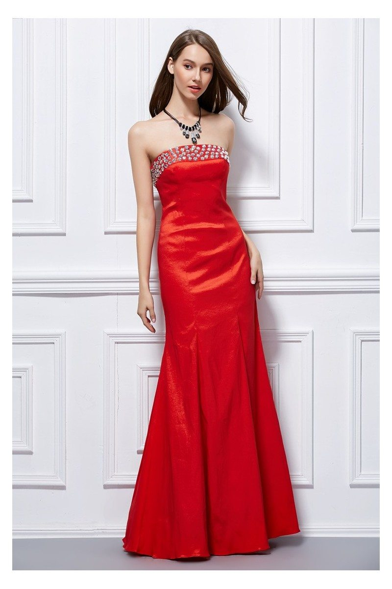 Beaded Strapless Taffeta Corset Back Prom Dress - $95 #CK429 ...