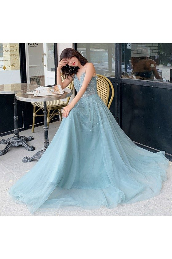 Bling Beaded Blue Tulle Prom Dress Blue With Straps