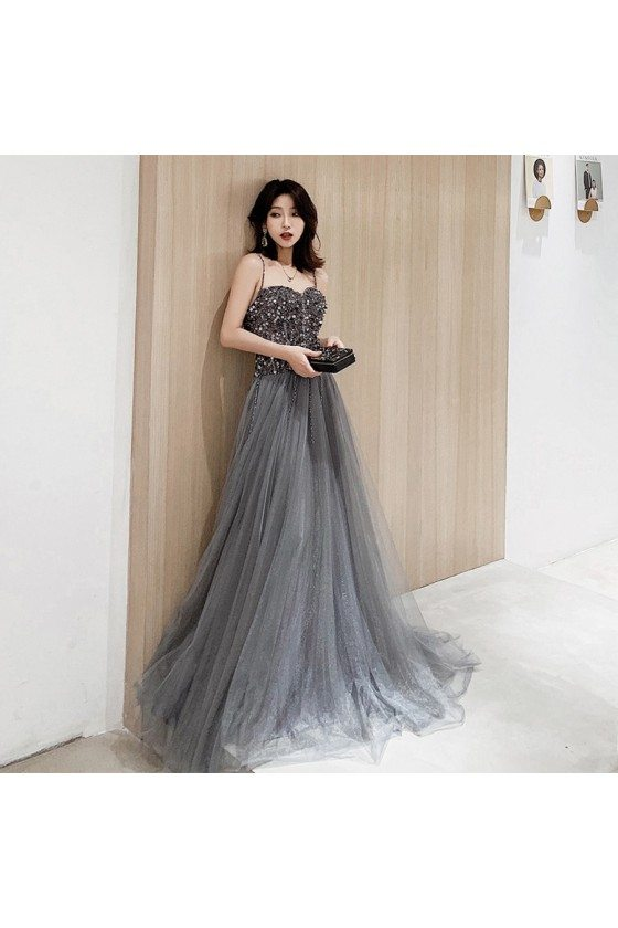 Stunning Dusty Grey Flowy Long Tulle Prom Dress With Sequined Straps