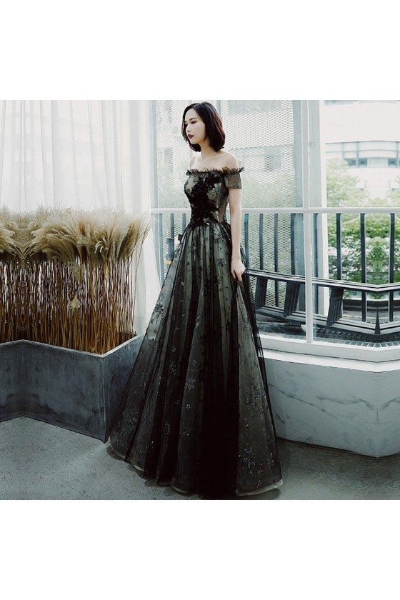 Long Black Tulle Off Shoulder Prom Dress With Sparkly Sequins