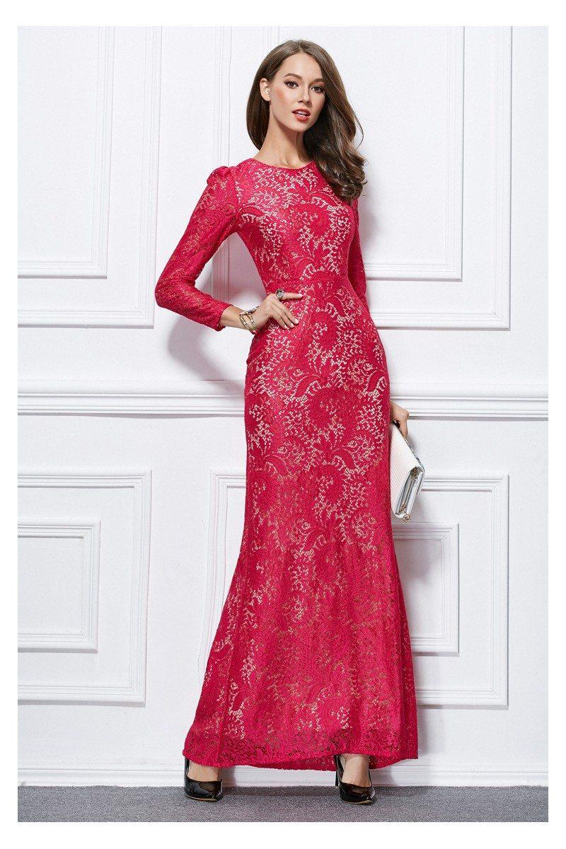 Sheath Lace Long Sleeve Formal Dress 95 Ck436 Sheprom