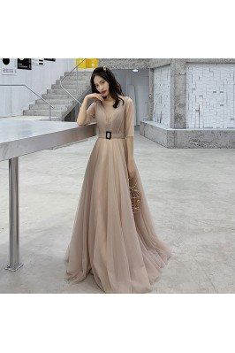Brown Tulle Chic Cheap...