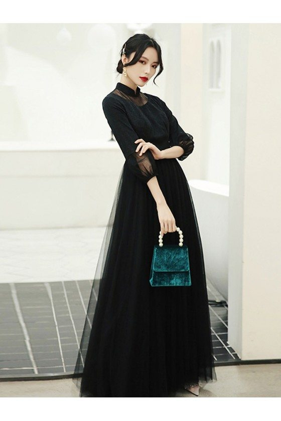 Asian Retro Long Black Evening Dress With Collar Bubble Sleeves