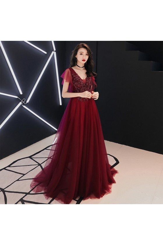 Burgundy Flowy Long Tulle Formal Dress Vneck With Tulle Sleeves