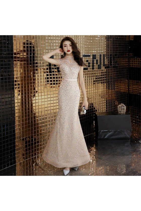 Light Champagne Sparkly Mermaid Special Occasion Dress With High Neck