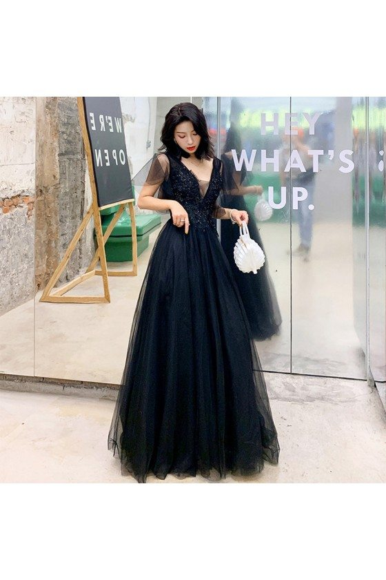 Black Beaded Lace Deep Vneck Formal Prom Dress With Tulle