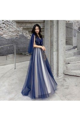 Blue Tulle Vneck Cheap Prom...