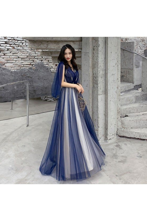 Blue Tulle Vneck Cheap Prom Dress With Cape Sleeves