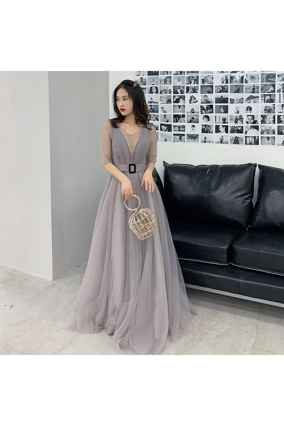 Modest Grey Tulle Aline Formal Dress With Illusion Vneck And Sleeves