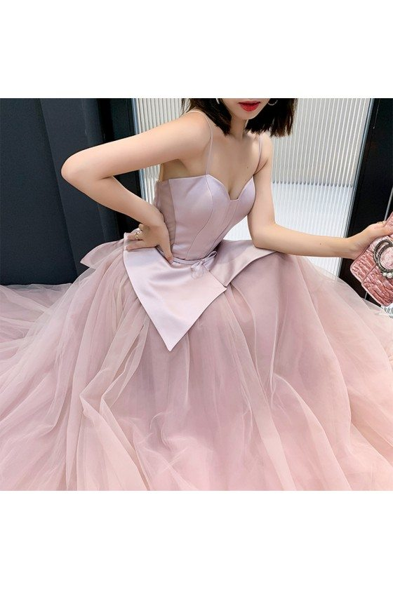 Rose Pink Satin With Tulle Ballgown Formal Dress With Spaghetti Straps
