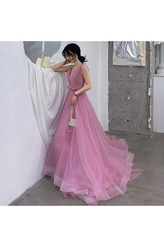 Long Train Purple Tulle Vneck Party Dress