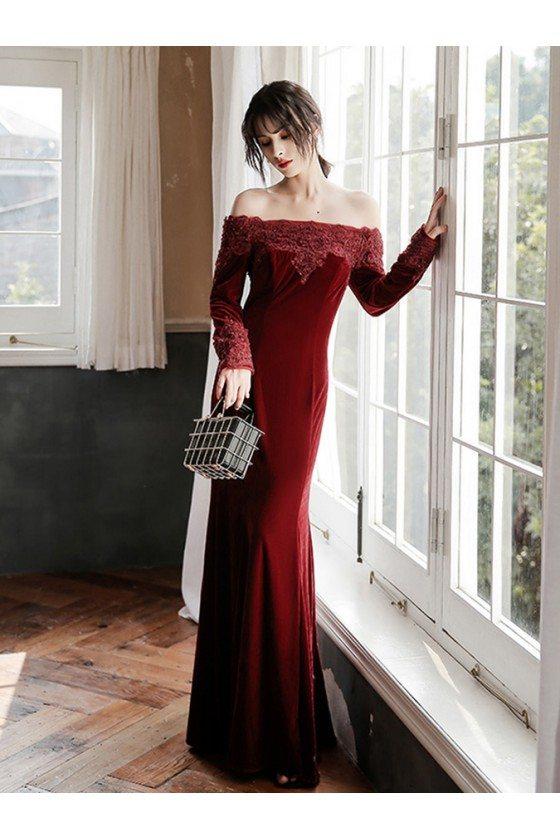 Burgundy Long Velvet Evening Dress Beaded With Long Sleeves