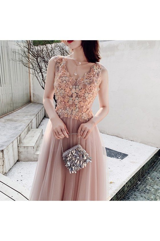 Nude Pink Flowers Vneck Cheap Prom Dress With Long Tulle