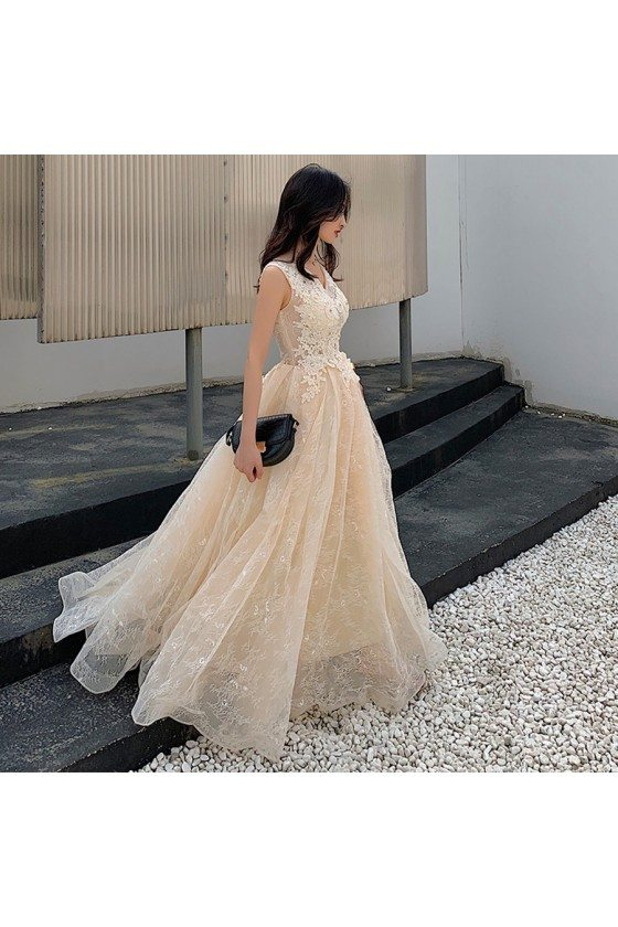 Champagne Lace Long Tulle Beaded Prom Dress Sleeveless