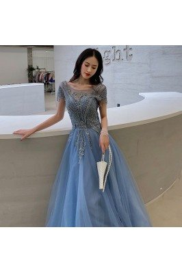Elegant Blue Long Beaded...