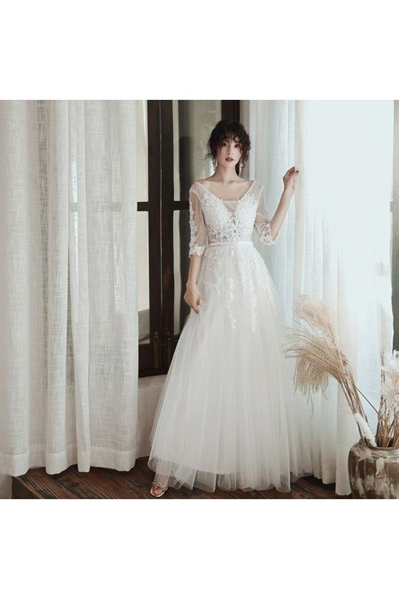 Beaded White Lace Elegant Long Tulle Prom Dress With Sheer Sleeves