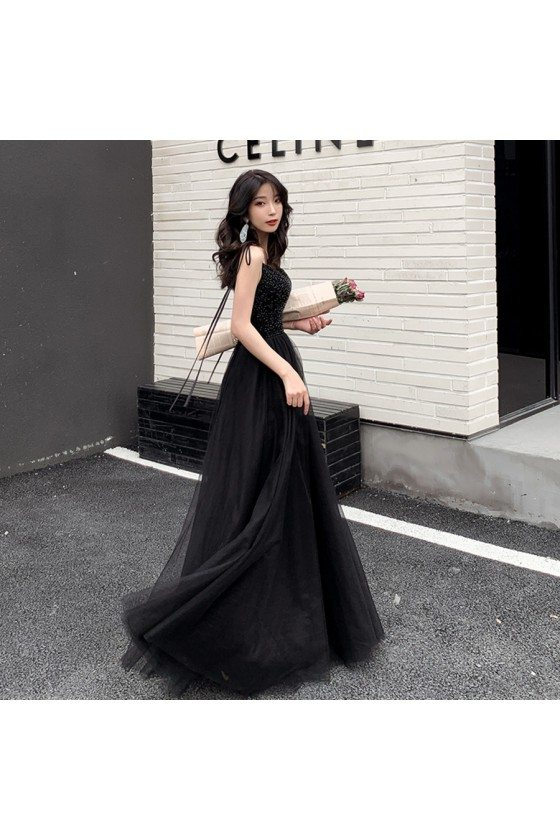 Sequins Black Top Long Tulle Prom Dress With Strappy Straps