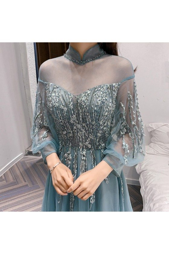 Blue Lace Tulle Fairy Long Sleeves Prom Dress With Collar