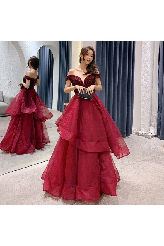 Sexy Off Shoulder Burgundy Long Prom Dress With Ruffles