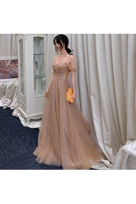Flowy Brown Tulle Prom...