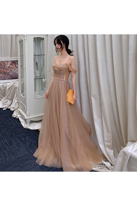 Flowy Brown Tulle Prom Dress Elegant With Straps