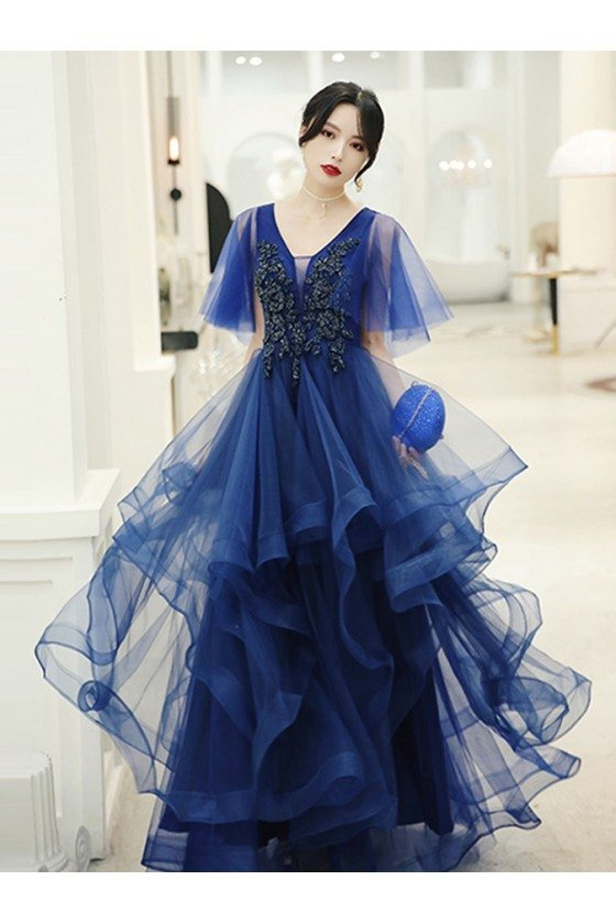 Beautiful Royal Blue Ruffles Cheap Prom Dress Beaded With Tulle Sleeves