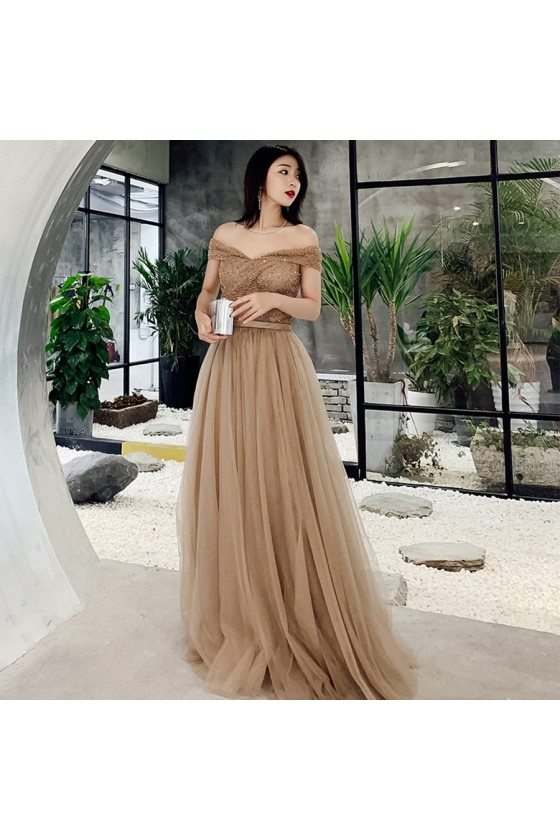 Khaki Pretty Off Shoulder Tulle Prom Dress With Beaded Top