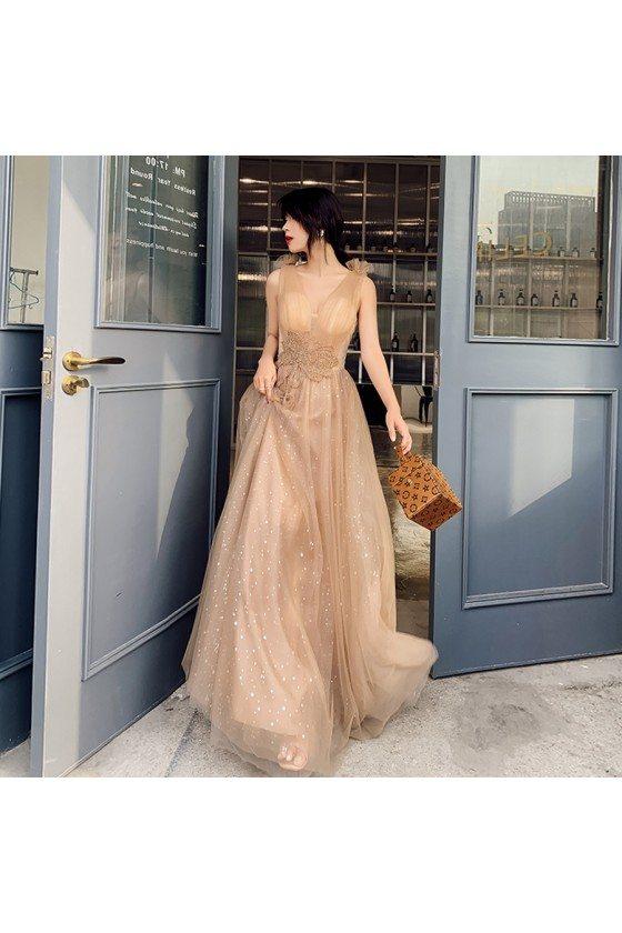 Khaki Bling Tulle Flowy Long Prom Dress With Beading