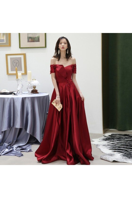 Classy Off Shoulder Burgundy Satin Pleated Evening Dress With Beading